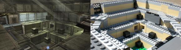 Top of Big Arena - side-by-side Halo / Lego comparison
